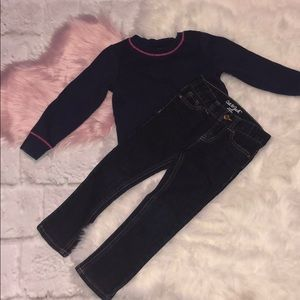 Cat & Jack Girls 4T outfit jeans & sweatshirt